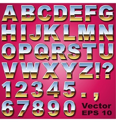 Chrome Letters and Numbers vector image