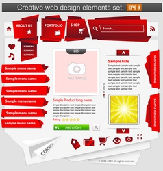 creative web design elements set red vector image vector image