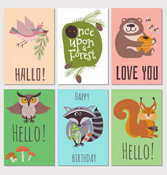 once upon forest cards collection cute animals vector image