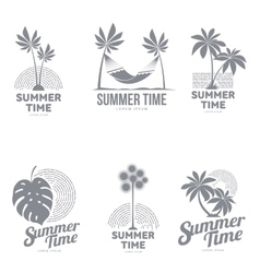 Set of black and white logo templates with palm vector image vector image