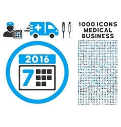 2016 Week Calendar Icon with 1000 Medical Business vector image