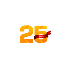 25 years anniversary celebration yellow with red vector