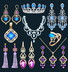 a jewelry set with a chain with a pendant vector image
