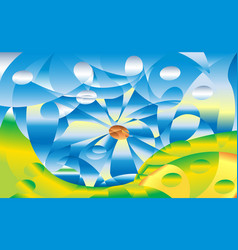 Abstraction summer mountain and river on a vector