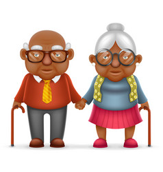 Afro american cute smile happy elderly couple old vector