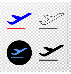 Airplane departure eps icon with contour vector