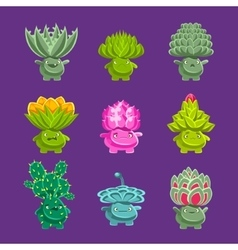 Alien Fantastic Plant Characters With Succulent vector image