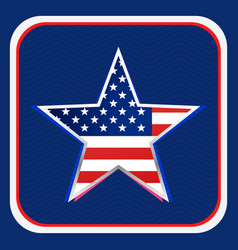 american flag inside star background vector image