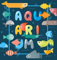 Aquarium fish typographic poster vector