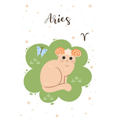 Aries cat in cartoon style postcard with zodiac vector