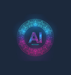Artificial intelligence logo plexus effect vector
