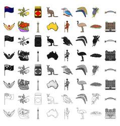 Australia set icons in cartoon style big vector