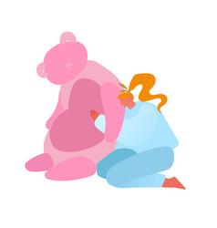 Baby toys concept mature woman hug huge pink vector