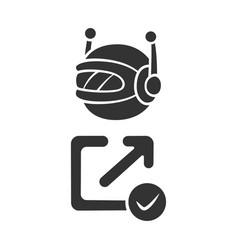 Backlink checker bot glyph icon website vector