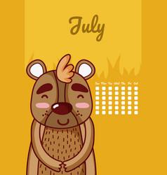 Bear cute calendar design vector