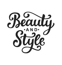 beauty and style logo with hand lettering vector image