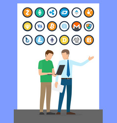 bitcoin currencies set and working people vector image