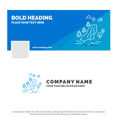 Blue business logo template for waterfall tree vector