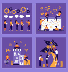 business people man and woman building a new idea vector image