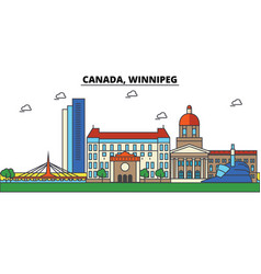 canada winnipeg city skyline architecture vector image
