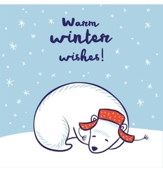 Card with a polar bear in red hat vector