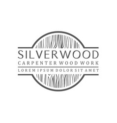 Carpenter industry logo design - wood log fiber vector
