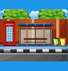 cartoon of a bus stop telephone box and trash can vector image