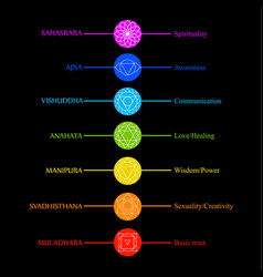 Chakra icons with respective colors names and the vector