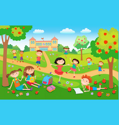 Children playing on the grass in the park before vector