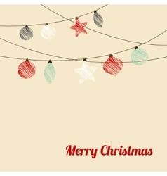 Christmas greeting card with garland christmas vector image