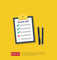 clipboard with to do list or planning pencil and vector image