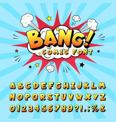 Comic book alphabet retro cartoon book vector