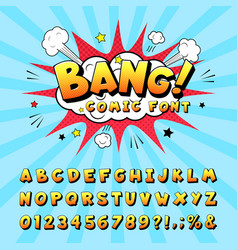 Comic book alphabet retro cartoon comic book vector