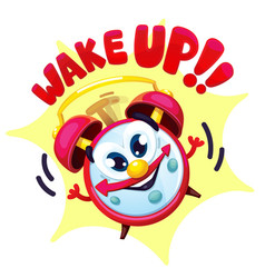Comical red alarm clock vector