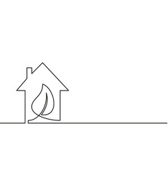 Continuous one line drawing leaf inside house vector