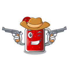 Cowboy character beverage healthy sweet tomato vector