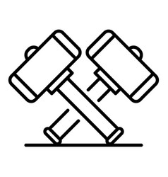 Crossed sledge hammer icon outline style vector