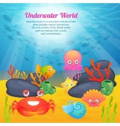 Cute animals underwater world series vector image
