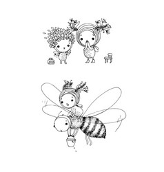 cute cartoon fairies and bee hand drawing sketch vector image