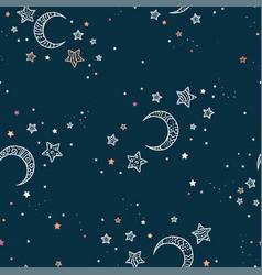 Cute hand drawn night sky seamless pattern vector