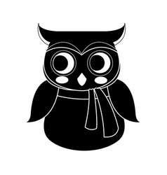 cute owl wearing scarf icon image vector image