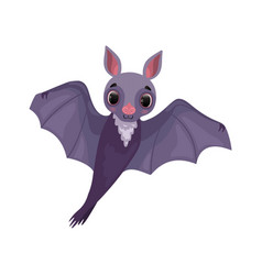 cute purple bat with outstretched wings funny vector image