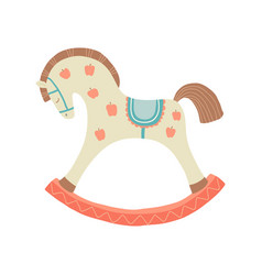 Cute rocking horse kids first toys baby shower vector