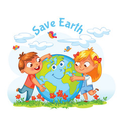 Earth day boy and girl hugging the globe vector