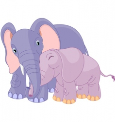 father elephant and her calf vector image