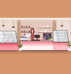 Female barista coffee shop owner smiling woman vector