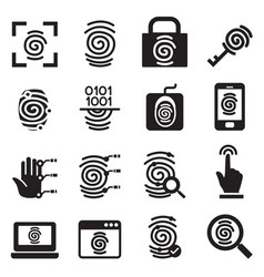 Finger print security system icons set vector