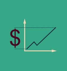 flat web icon on stylish background money graph vector image
