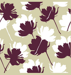 Flowers seamless pattern cute simple botanical vector