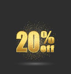 Gold sale 20 percent golden sale 20 percent vector